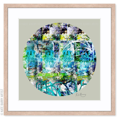 Chandelier original digital work on green with Natural frame | Kate Barry Artist