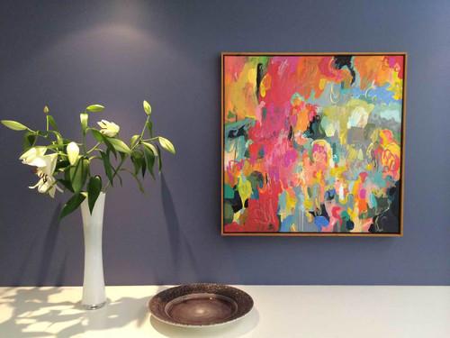 Kate Barry Artist   Firedance   85 cm x 85 cm   Acrylic on canvas