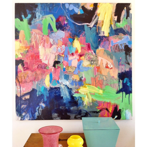Kate Barry Artist | Blue Heart | 100 cm x 100 cm | Acrylic on canvas