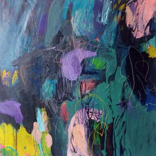 Kate Barry Artist | Blue Mood | 58 cm x 58 cm | Acrylic on canvas