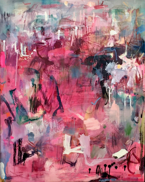Kate Barry Artist | Blushing | 81 cm x 63 cm | Framed | Oil, acrylic and pastel on canvas