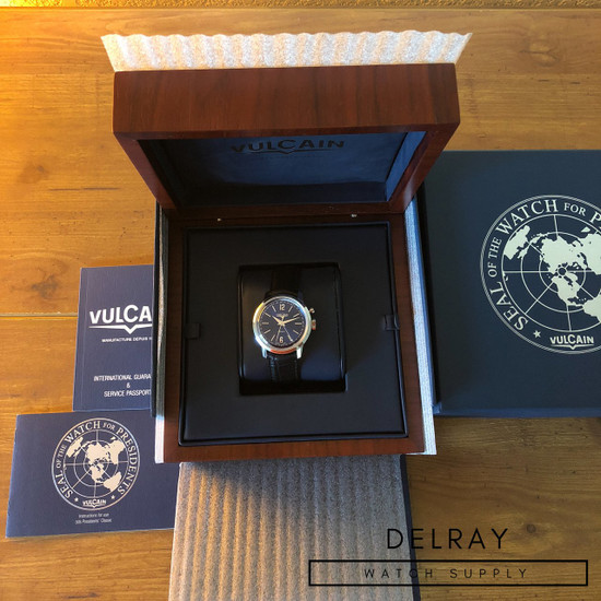 Vulcain 50s Presidents' Classic Cricket Alarm Blue Dial *UNWORN*
