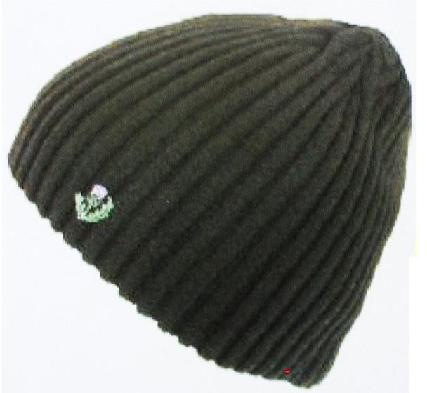 Black Ribknit Beanie Hat Thistle Design Scotish Beanie Knitted Thistle Hat