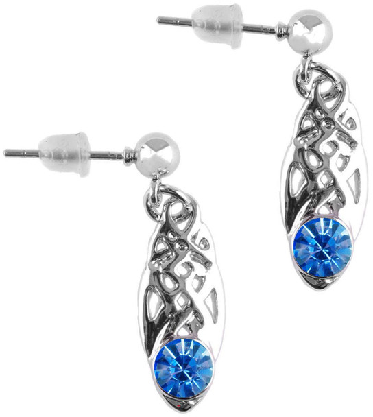 Celtic Birthstone Drop Earrings March Jewellery Silver Plated Light Blue Stone Scottish Gift