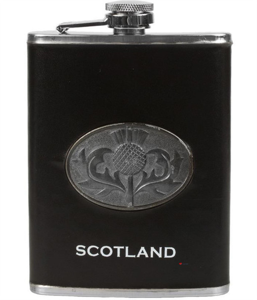 8oz Hip Flask With Scottish Thistle Design With Small Funnel Set