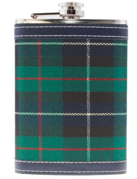9 oz Hip Flask With Scottish MacKenzie Tartan Design Stainless Steel