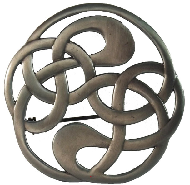 Celtic Knot Brooch for Scottish Traditional Dress Pewter Antique Finish