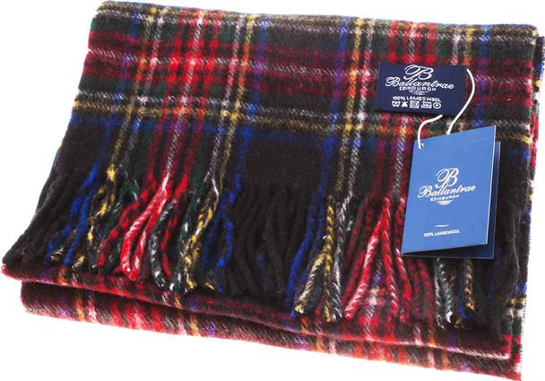100% Lambswool Scarf Stewart Black Scottish Gift Winter Scotland
