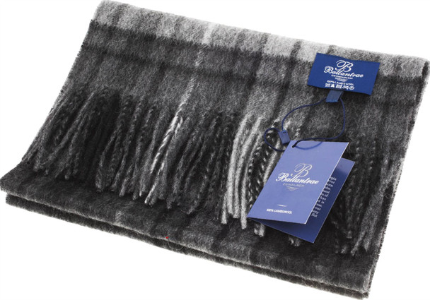 100% Lambswool Scarf Buchanan Grey Scottish Gift Winter Scotland