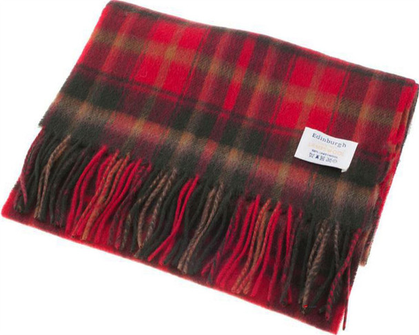 Unisex Lambswool Scarf In Dark Maple Tartan Design 30cm Wide
