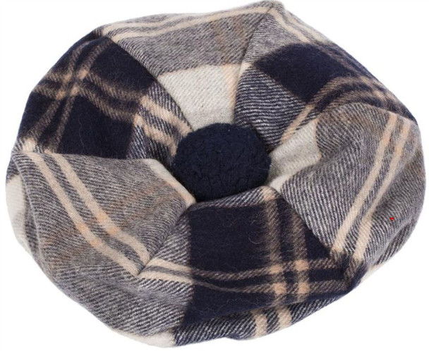 Lambswool Scottish Tammy Hat In Bannockbane Silver Tartan Design