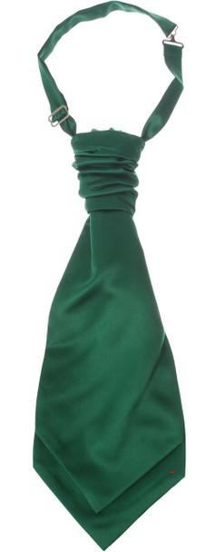 Gents Traditional Scottish Ruche Cravat Satin Tie Wedding Groom Forest Green