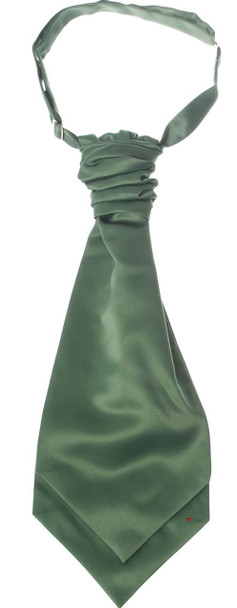 Gents Traditional Scottish Ruche Cravat Satin Tie Wedding Groom Leaf Green