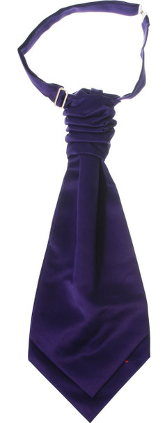 Gents Traditional Scottish Ruche Cravat Satin Tie Wedding Groom Purple