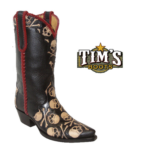 Star Hand tooled Skull and Crossbones Boots