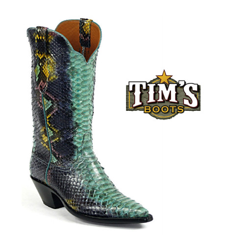 Full Python boots in Purple / Turquoise