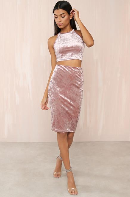 A Little Crush Skirt - Mauve Velvet