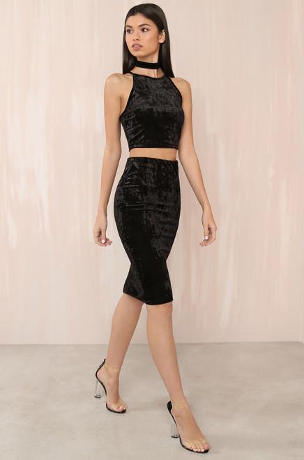 A Little Crush Skirt - Black Velvet