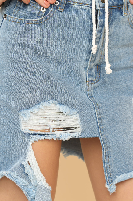 Rough Edge Skirt - Denim