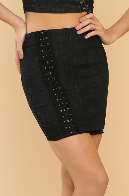 Hooked On You Skirt - Black Denim