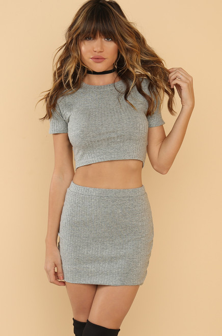Happy Midi-um Skirt - Grey