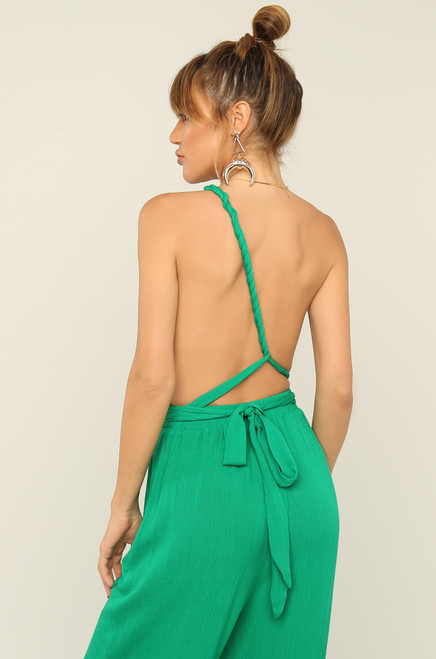 Balmy Nights Jumpsuit- Jade