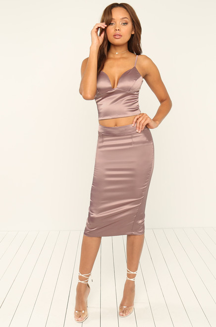 Alluring Touch Skirt - Mauve Satin