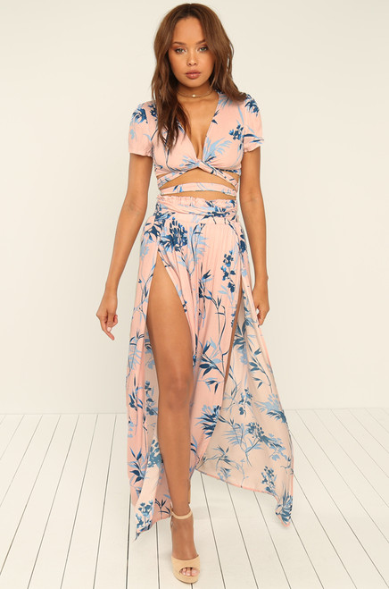 Lost In Paradise Skirt - Blush