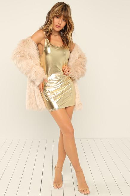 Listen Closely Dress - Gold