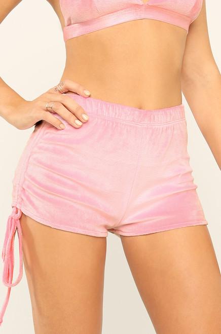 Baby Girl Shorts - Pink Velour