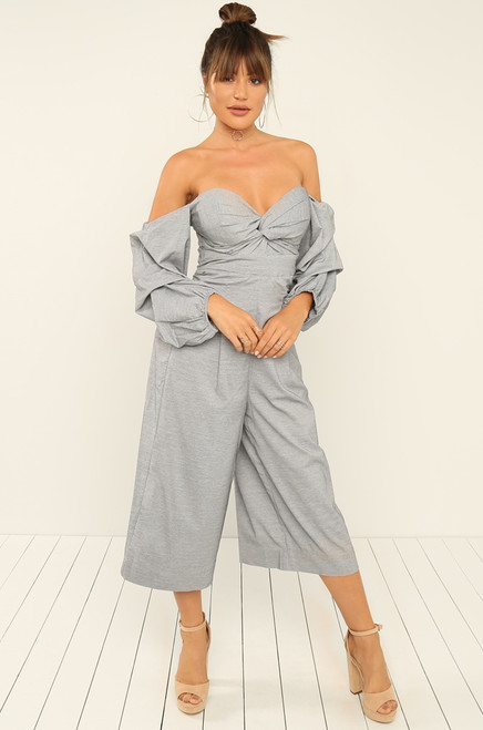 On My Level Jumpsuit - Grey