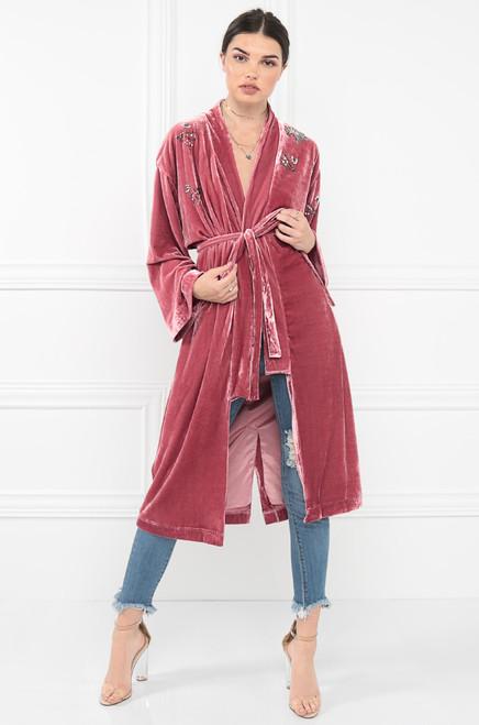 Velour Lush Coat - Pink