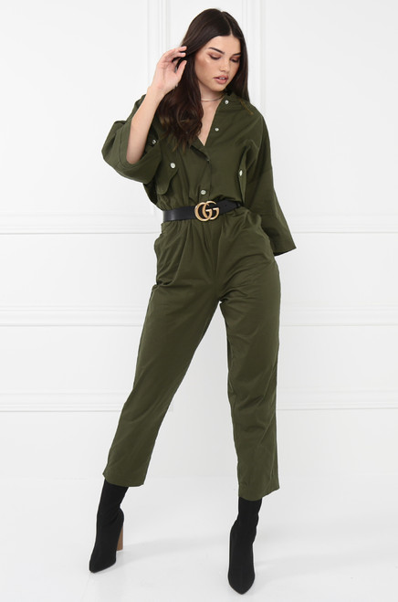 Seen In Demand Jumpsuit - Olive