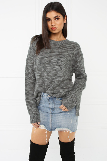 Stitch In Time Sweater - Grey