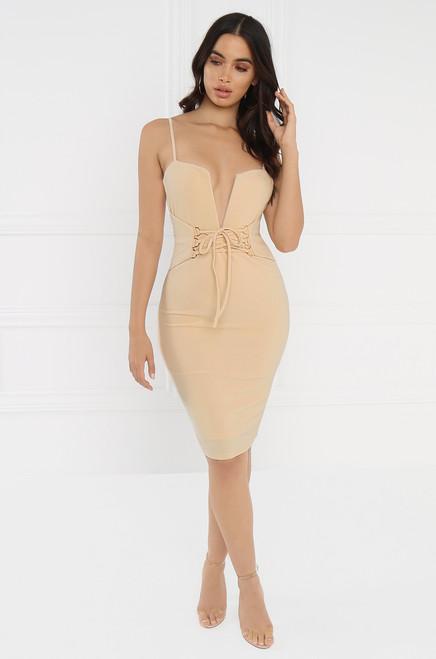 Femme Luxe Dress - Beige