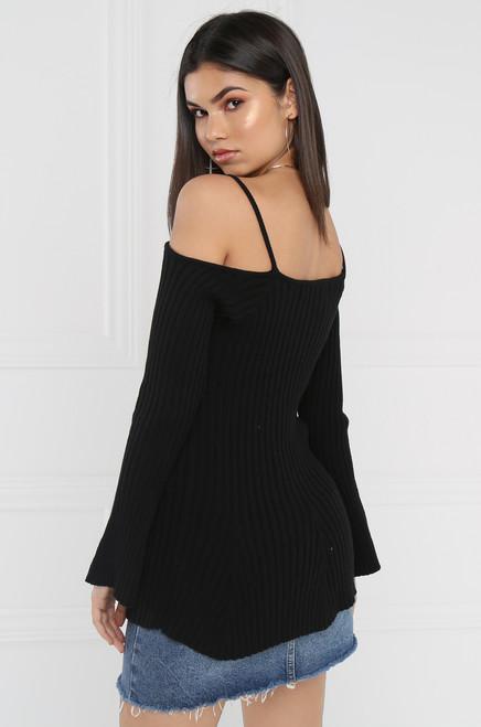 Lil' Tease Sweater Top - Black