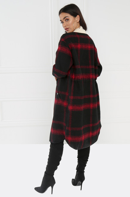 Plaid & Boujee Coat - Red