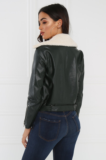 Faux Fever Moto Jacket - Forest Green