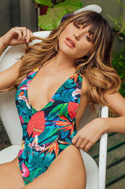 Seductive Safari Swimsuit - Black Floral