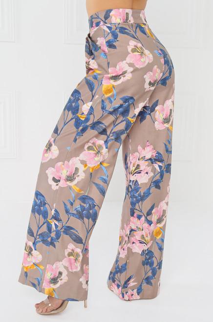 Wild Azalea Trouser - Taupe Floral