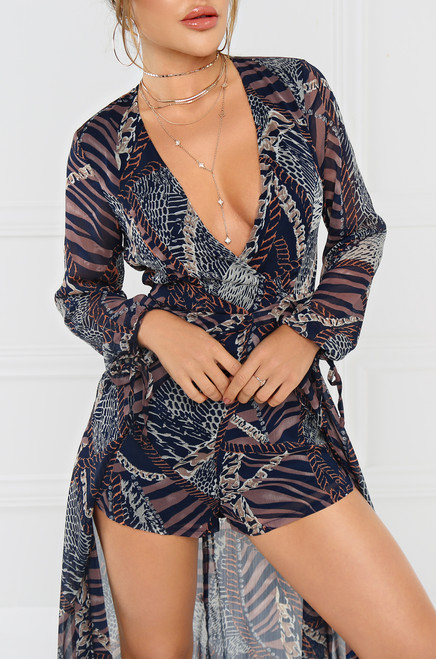Into The Wild Romper - Navy Multi