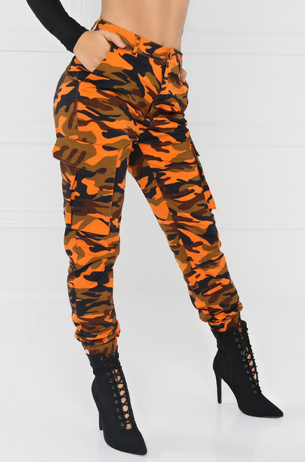 Almost Famous Cargo Pant -  Orange Camouflage