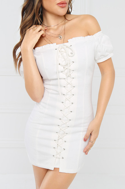 Sunny Hunny Cord Dress - White