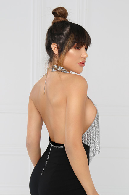 Daddy's Credit Card Halter Top - Sheer Diamond