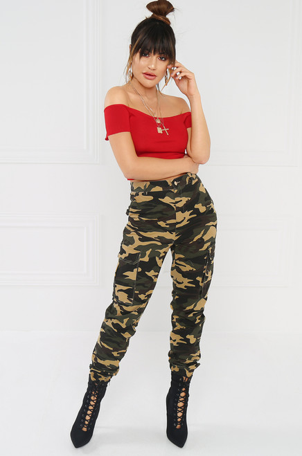 Almost Famous Cargo Pant -  Green Camouflage