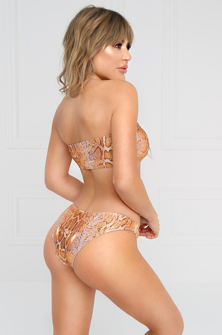 Treasure Island Bikini Bottoms - Tan Snakeskin