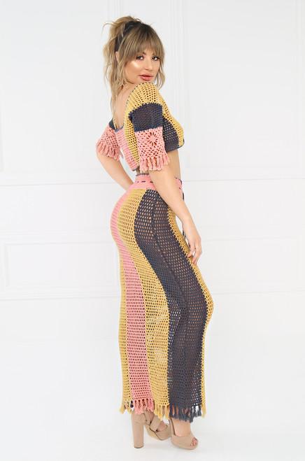 Wild Child Crochet Skirt - Grey