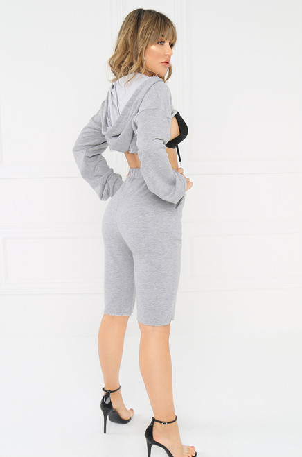Not So Sporty Crop Sweatshirt - Grey