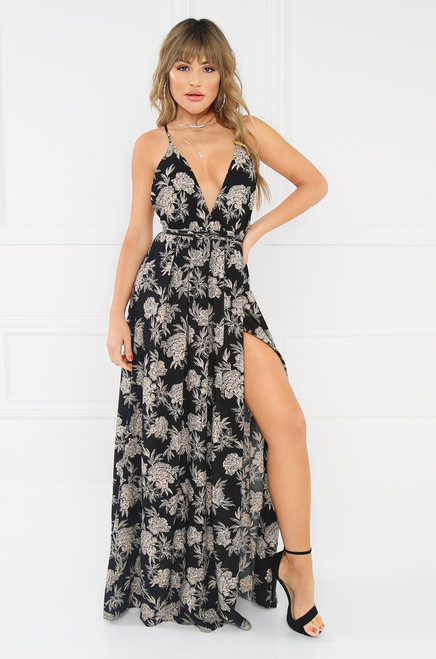 Serenity Now Dress - Black Floral