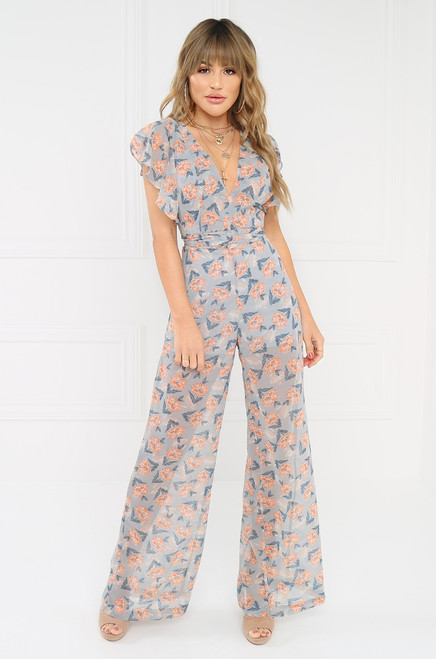 Love To Love You Jumpsuit - Blue